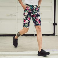 Wholesale Cotton Trousers Shorts For Men - 2017 summer floral print casual shorts for men Hawai flowers knee length trousers beach pants for men
