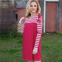 Wholesale Cheap Short Sleeve Skirt Suits - 2018 Fuchsia Long Sleeves Women Suit Cheap Scoop Neck Above Knee Length Striation Skirt Plus Size