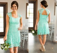 Wholesale short formal dresses turquoise - 2017 New Turquoise Mint Country Short For Weddings Bridesmaid Dresses Full Lace Cap Sleeves Open BackPlus Size Formal Maid of Honor Gowns