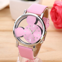Wholesale Watch Mouse - New 2017 Popular Women Watches Mouse Delicate Transparent Hollow Dial Leather Strap Dress WristWatch Quartz Lady Watches mickey