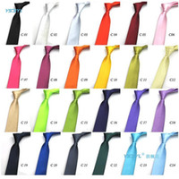 Wholesale Cheap Silk Ties Wholesale - Solid Color Ties Cheap Hot Sale Mens Regular Sized Neck Ties Imitate Silk Plain Wedding Necktie Lenth 145*5cm Fashion Accessories DHL Free