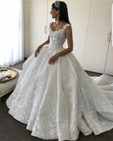 Wholesale Dress Flower Skirt 3d - 2017 Wedding Dresses Scoop Lace 3D-Appliqued Beaded Sleeveless Hollow V Back Puffy Ruffle Chapel Train Bridal Gowns