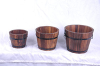 Wholesale Artificial Flowers Wooden - Vintage Style Carbonized Wood Barrel Flower Pot Planting Wooden Succulent Planter Garden Home Decorations Free Shipping ZA4180