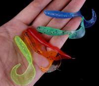 Wholesale Bulk Lures - 100PCS Drongo Plastic Worms Soft Bait 6.5cm 2g Rubber Fishing lures and Bulk Fishing Tackle Accessories