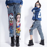 Wholesale Loose Fashion Trousers Ladies - Wholesale- Fashion New Cartoon Printed skull Summer Cute Jeans Trousers Ladies pants