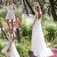 Wholesale Beaded Detachable Wedding Skirt - Vintage Lace Wedding Dress with Detachable Skirt Long Sleeve Beaded Appliques Knee Length Wedding Dress A Line Backless Bridal Gowns