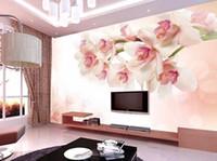 duvarlar için büyük çiçek duvar kağıdı toptan satış-büyük duvar duvar modern boyama Wallcovering oda tv duvar kağıdı zemin yaşayan 3D fotoğraf kağıdı çiçekler