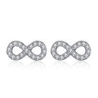 925 pendientes de cristal de plata al por mayor-BELAWANG Real 925 pendientes de plata con Micro Pave CZ Crystal Infinity Stud Pendientes para mujeres para siempre el regalo de boda de la joyería del amor
