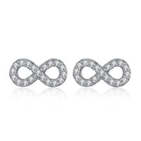 Wholesale Earring Infinity - BELAWANG Real 925 Sterling Silver Earrings with Micro Pave CZ Crystal Infinity Stud Earrings For Women Forever Love Jewelry Wedding Gift