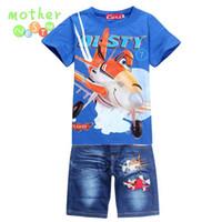 Wholesale Dusty Cartoon - New 2017 Retail Children Set Cartoon DUSTY PLANE fashion suit boys jeans sets t-shirt+pant 2pcs Kids Summer Clothing