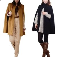 Wholesale Cape Overcoat - Wholesale- Women's Outwear Jacket Cape Overcoat Cloak Parkas Trench Coat Autumn Winter Hot