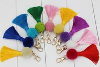 Wholesale Book Lovers - Pom pom bag PENDANTS charm Tassel keychain purse  book accessories Boho accessories Handbag charm 36PCS