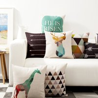 Wholesale Brown Modern Sofa - Animals Deer Elk Stag Giraffe Cushion Cover Nordic Modern Geometric Triangles Plaids Arrows Cushion Covers Sofa Linen Cotton Pillow Case