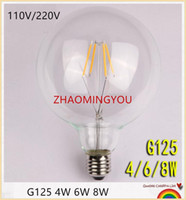 Wholesale yellow light bulb vintage - YON Dimmable LED G125 Filament Light Bulb G40 Vintage Edison Glass Bulb 4W 6W 8W E26 E27 Base Clear Glass Light Big Global Indoor Lamp