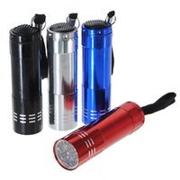 led intermitente linterna azul rojo al por mayor-Gran promoción 9 LED Mini bolsillo portátil antorcha de mano Superlight de aluminio Linterna Flash Lámpara de camping Rojo Negro Azul Plata
