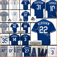 Wholesale Clayton Baseball - stitched #22 Clayton Kershaw 5 Corey Seager jersey Men 35 Cody Bellinger 31 Joc Pederson 3 Chris Taylor 66 Yasiel Puig Baseball jerseys