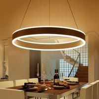 Wholesale Pendant Lights Led Restaurant - Modern Led Ring Pendant Lights for Dinning Room Living Room Restaurant Kitchen White AC85-260V Luminaire Suspended Pendant Lamp