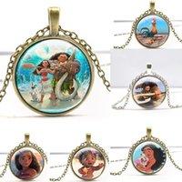 Wholesale Diamond Necklace Cartoon - Moana Pendant Necklaces Cartoon Moana Waialiki Maui Glass Cabochon Pendant Necklaces Children's Day Gift Silver Bronze