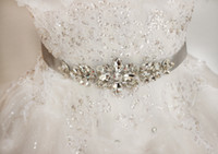 Wholesale Hand Accessories For Girls - Wholesale Top Crystals Beaded Wedding Dress Belts Wedding Accessories White Ivory Long Satin Hand Made Bridal Sashes Belts For Bridal 2017