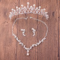 Wholesale Three Piece Pearl Tiara - 2017 Latest Design Wedding Bridal Accessories Three Pieces Pearls Crystals Crown+Necklace+ Earrings for Bride Stunning Bridal Tiaras