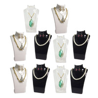 Wholesale Glass Earring Holder - 10Pcs Fashion Jewelry Display Bust Acrylic Jewelry Necklace Storage Box Earring Pendant Organizer Display Set Stand Holder Mannequin Rack