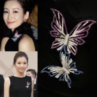 Wholesale Silver Plated Clear Rhinestone Brooches - 12Pcs Lot Crystal Double Butterfly Brooches Clear Crystal Butterfly Pins Brooch Wedding Party Jewelry Brooches 2017 Style In Stock