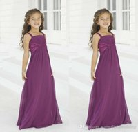 Neue Günstige Lila Blume Mädchen Kleider für Hochzeiten Sommer Chiffon Junior Brautjungfer Kleider Nach Maß Erstkommunion Kids Formal Wear