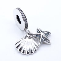 Étoile de mer tropicale Sea Shell Crème glacée Clear CZ 2017 Été 925 Sterling Silver Bead Fit Pandora Bracelet Authentic Charm Fashion Jewelry