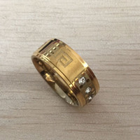 Wholesale Greek Accessories - 2017 new trendy Zircon Titanium Steel engrave greek key Ring Men Women CZ Crystal ring Band Jewelry Custom Accessories Wholesale