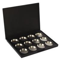 ingrosso tavolozza di palette ombretto-Commercio all'ingrosso - 10 pacchi di trucco cosmetico vuoto 12 pezzi in alluminio magnetica ombretto ombretto pigmento padella caso