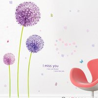 Wholesale Dandelions Wall Stickers - Cartoon Purple Dandelion Plant Wall Stickers for Kids Rooms Living Room Home Decor Wall Decor Mural Art