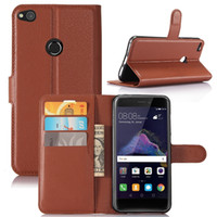 Wholesale huawei ascend honor cases - For Huawei P8 P9 LITE 2017 Honor 8 Lite Ascend XT H1611 6.0 inch Wallet Flip Leather Pouch Case Litchi TPU Stand Card Cover Book Luxury 5PCS