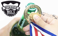 Wholesale Stainless Medal - Free DHL Shipping Hot sell 50pcs lot No.1 Winner Gold Medal Bottle Opener Best Party Tool