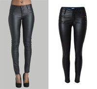 Wholesale Colored Pencils Sale - Wholesale- Hot Sale skinny leather PU fake zippers low waisted pencil pants full length trousers jegging leggings jeans plus size women