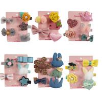 Wholesale Baby Felt Bows - 1 Set(5pcs) 5 Style Boutique Felt Hair Bow Baby Crown Rabbit Ear Hair Clip Hair Flowers Wholesales