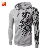 Wholesale Tattoo Printed Nylon Sleeves - Hombre 2016 New Brand Mens Stylish Hooded Hoodies Novelty Tattoo Dragon Printed Pullover Sweatshirts Fleece Casual Jacket Coat