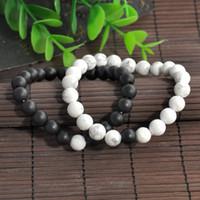 Wholesale Couple Bracelet Gift Set - 2pcs Couples His & Hers Bracelet Lava Bead Matching YinYang Lovers Gift Couple Yinyang Beads Bracelet New