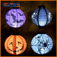 Wholesale Diy Paper Christmas Tree - Party Paper Lanterns Holiday Lighting Halloween Decoration LED Hanging Props Paper Pumpkin Bat Spider Light Holiday Light