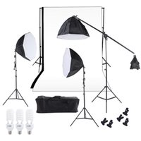Wholesale Photography Studio Lighting Softbox Photo Light Muslin Backdrop Stand Kit with Three cm Octagon Softbox Cantilever Light Stand Bulbs D1672