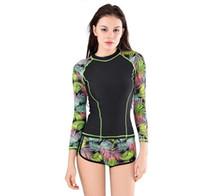 Wholesale wholesale high fashion swimwear online - Fashion Women s rash Swimwear Ladies long sleeve high elasticity t shirts with board shorts sexy bikini AL035