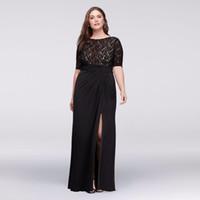 полупальто свадебное платье черного цвета оптовых-Кружевное лифное платье больших размеров с рюшами Юбка WBM1123W с половиной рукавов Черное сексуальное платье для мамы невесты Свадебное платье Формальные платья