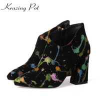 Wholesale Beauty Cow - Krazing Pot 2018 cow suede graffiti tattoo design shoes women super thick high heels zipper pointed toe beauty ankle boots L2f5
