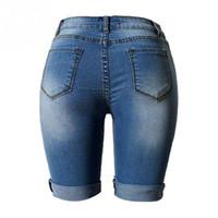 Wholesale Dog Jeans Pants - Wholesale- Shorts Women 2016 Fashion Dog Embroidery Pocket Ladies Jeans Vintage Trousers Women Hole Denim Short Pants S M L XL