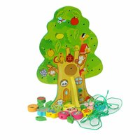 Wholesale 3d Wooden Puzzle House - Wholesale-Brand New DIY Colourful Wooden Toy Animal Fruit Tree House Stringing Beads Baby Birthday Gift Children Favor Educational Toys