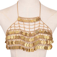 net kolye toptan satış-Bohemian Moda Vücut Zinciri Seksi Karın Zincir Paraları Püskül Bikini Bra Net Çiçekli Köle Harness İç Giyim Necklace Takı