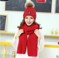 Wholesale Plain Long Beanie - Fashion Christmas Scarf Cap Sets Women Winter Warm Chunky Thick Knit Fur Beanie Hats Long Scarves Hat Scarf Set for Women Top Quality