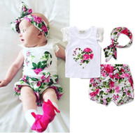 Wholesale Shirt Bloomers - INS Baby girl Toddler Summer clothes 3piece set outfits Rose Floral Lace Tops Shirt Vest + Shorts Pants Bloomers + Bow Headband Cute A 080