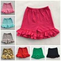 Wholesale Wholesale Clothing For Boutiques - 2017 baby girls cotton ruffle shorts solid color summer shorts gold ruffle pants for girls kid short girl shorts wholesale boutique clothing