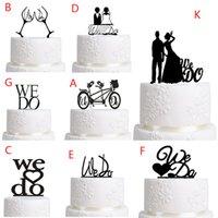 wedding cake supplies decorations achat en gros de-Topper gâteau De Mariage Décoration Noir Acrylique Gâteau Topper Fournitures De Décoration De Mariage Favor Favor Proposer Acrylique Silhouette