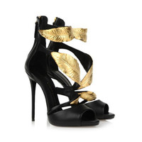 Wholesale golden high heels pumps resale online - New Arrival summer pump sandals golden gold leaf high heels sandals heel pump sandals for women heels shoes